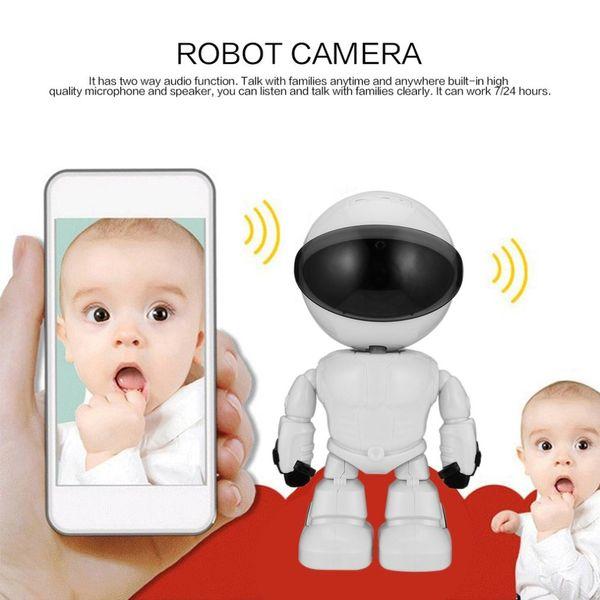 Cámara de red inalámbrica 1080P HD Cámara de red inalámbrica de audio de dos vías Visión nocturna Detección de movimiento Robot Pet Baby Monitor
