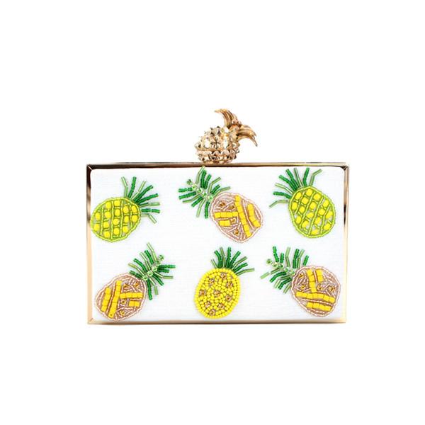 Luxury women handBags Exquisite handmade beaded pineapple pattern Ladies Day Clutches Female Wedding Evening Bag shoulder bag