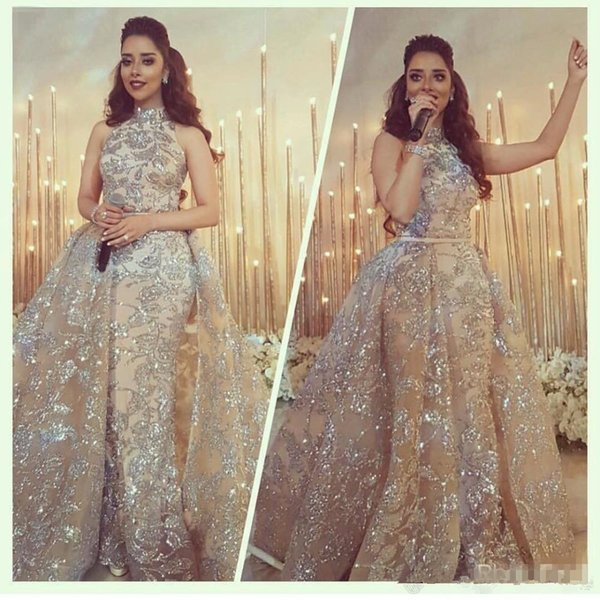 Yousef Aljasmi 2018 Modest High Neck Mermaid Prom Dresses with Overskirt champagne Sparkly Dubai Arabic Occasion Evening Wear Gowns