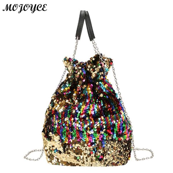 57a6fb9d4a08 Women Bucket Shoulder Bag Elegant male bag Mini Sequin Chain Crossbody  Fashion Messenger Evening Party luxury handbags