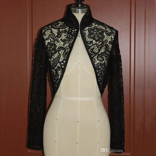 Giacche da sposa in pizzo nero collo alto maniche lunghe giacche da sposa mini cappotto su misura
