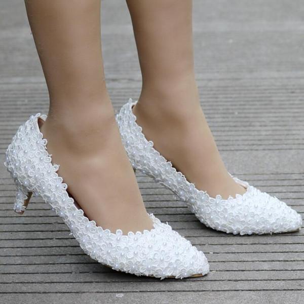 5cm White Lace Wedding Shoes Princess Shoes Pumps High Heels Thick Heel Pumps White Pumps