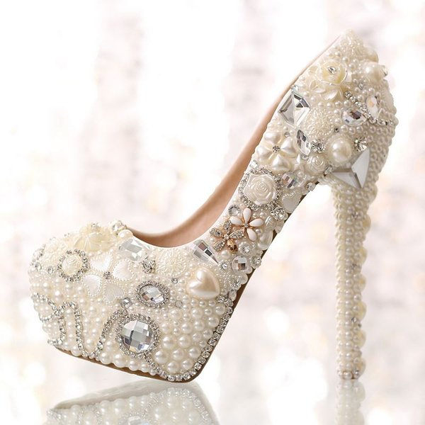 Sexy Crystal Embellished Wedding Shoes for Woman White Pearls Beaded Platform Pumps Super High Slip-on Rhinestones Dress Shoes Free Ship