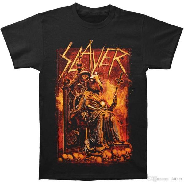 2018 Yaz Tarzı T Gömlek Slayer Saltanatı Kan RIB Keçi erkek Siyah T-Shirt erkek Gömlek Erkekler Giysi Yenilik Serin