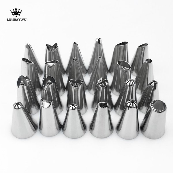 24pcs Confectionery Packing DIY Stainless Steel Icing Piping Nozzles Pastry Tips Fondant Cup Cake Baking Cake decorator