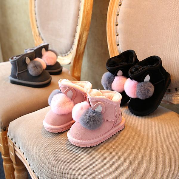 Warme Kinder Schnee Stiefel für Kinder 2018 neue Kleinkind Winter Prinzessin Kind Schuhe rutschfeste flache runde Zehe Mädchen Baby schöne Stiefel