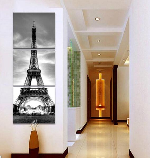 Quadri Moderni Da Camera Da Letto.Acquista 3 Pezzo Hd Stampa Su Tela Quadri Moderni Parigi Torre Punto Di Riferimento Edificio Wall Art Camera Da Letto Cuadros Decor Immagine No Frame