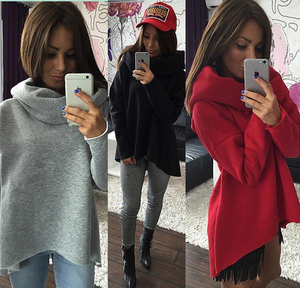 Mulheres plus camisola de veludo camisa cor sólida capuz irregular solto cachecol gola de manga comprida roupas grossas