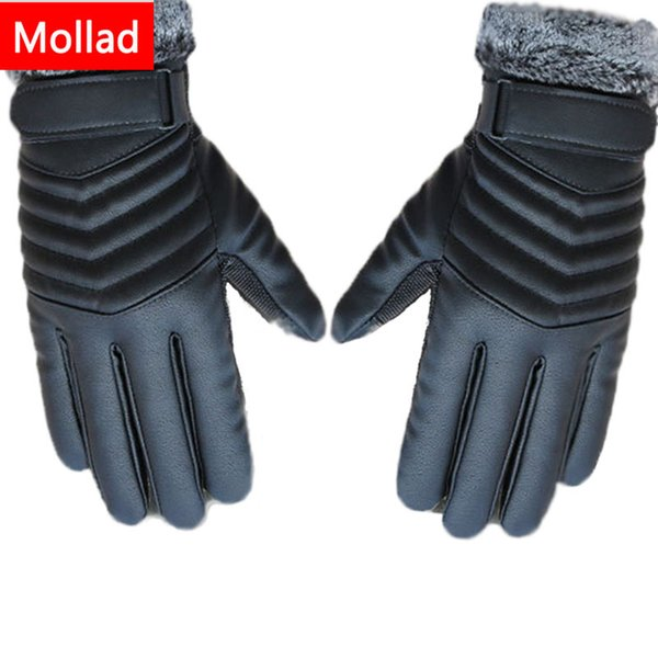 Mollad NEW Leather winter guantes sheepskin Gloves men Leather gloves Touchable screen simple prevent cold Gloves for men