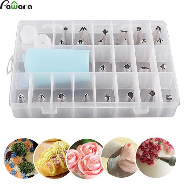 Pawaca 27Pcs/Set Dessert Decorator Silicone Icing Piping Cream Pastry Bag + 24 Stainless Steel Nozzle Set DIY Cake Decor Tips