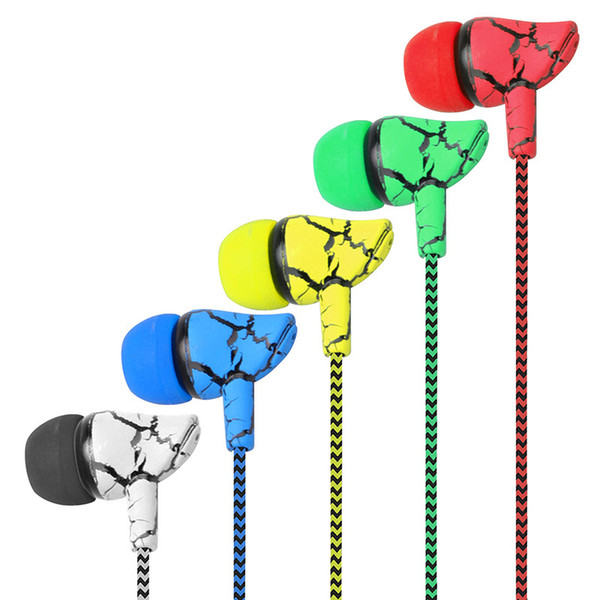 3.5mm Jack Crack Earphone Wired Headset Super Bass Sound Headphone Earbud with Mic for Mobile Phone Samsung Xiaomi MP3 MP4