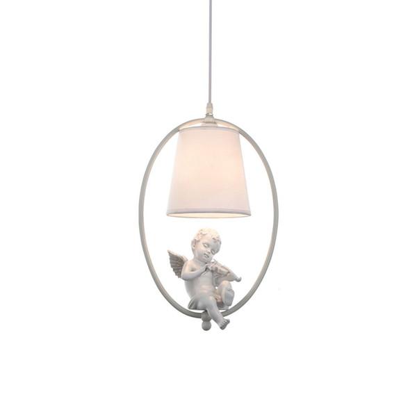 OOVOV American Angel Dining Room Pendant Lights Fabric Cafe Bar Balcony Corridor Hanging Lamp,E14,White