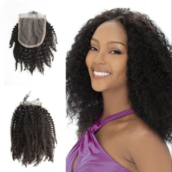 Top Grade 4x4 Lace Closure Afro Kinky Curly Indian Natural Human Hair Natural Color For Black Women