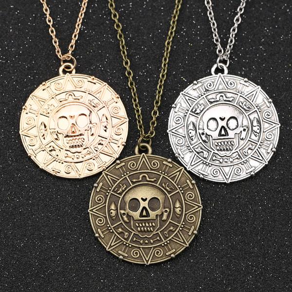 Caribbean Pirate Necklace, Auniquestyle Fashion Jewelry Jack Sparrow Aztec Coin Medallion Vintage Gold Bronze Silver Pendant