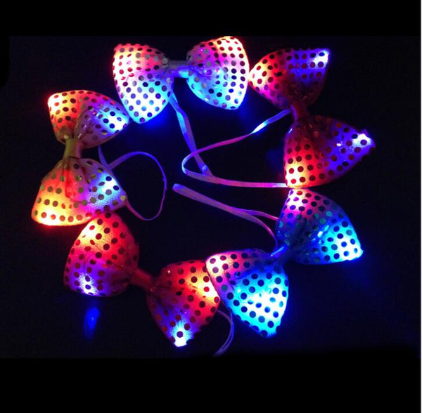 Flashing Light Up Bow Tie Necktie LED Mens Party Lights Sequins Bowtie Wedding Glow Props Halloween Christmas bowknot gift