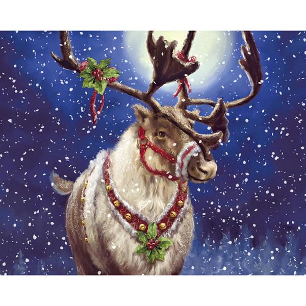 Bordado Navidad ciervos pintura diamante Cruz 5d diy Diamond Stitch ronda completa taladro Rhinestone mosaico decoración