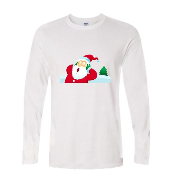 HOT!2018 summer brand Santa Father Christmas Festive Custom Funny T Shirt Men Cotton long Sleeve T-shirt homme Top Tees