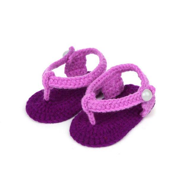 Cute Crib Crochet Casual Baby Girls Handmade Knit Sock Clip Toe Infant Woolen Shoes children footwear shoes for girl