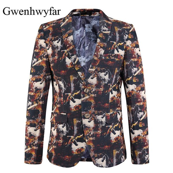 Gwenhwyfar 2018 New Spring Summer Autumn Jacket For Men Men Fashion Prom Blazers Mens Dress Jacket Stage Wear Slim Fit