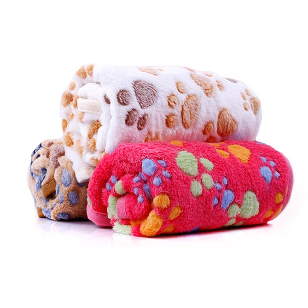 Multiunction Soft Dog Blankets, Winter Warm Paw Print Pet Sleep Puppy Cat Blanket Bed Mats 3 Colors