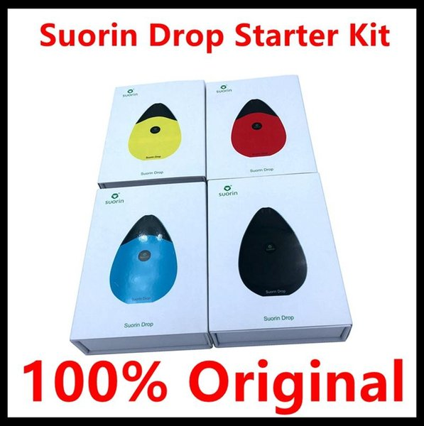 100% Original Suorin Drop Starter Kit W Drop Cartridge Pod 2ml & Buit-in Battery 300mAh Water-drop Design Air Switch for Easy Vaping