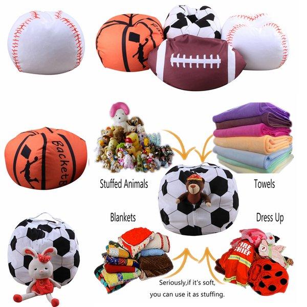 4 Designs 18 inch Ball Bean Bag Football Basketball Baseball Storage Bean Bag Baby Stuffed Plush Pouch Bag Organizer Beanbag Chair AAA225