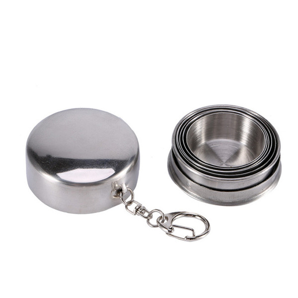Stainless Steel Collapsible Travel Folding Cup Camp Keychain Retractable Telescopic Camping mugs wine tea Cup 75ml