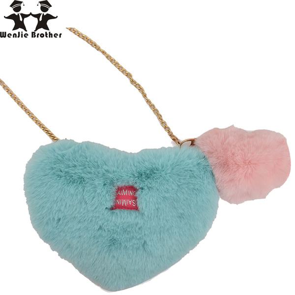 wenjie brother Cute peach heart hair bag 2018 fashion women message bagsmall fresh mini mobile phone bag lady shoulder chain