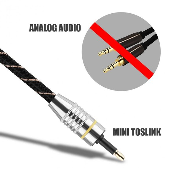 audio cable Gold Plated Connector Round Toslink to Mini Plug 3.5mm Optical Fiber Digital Audio Cable SPDIF