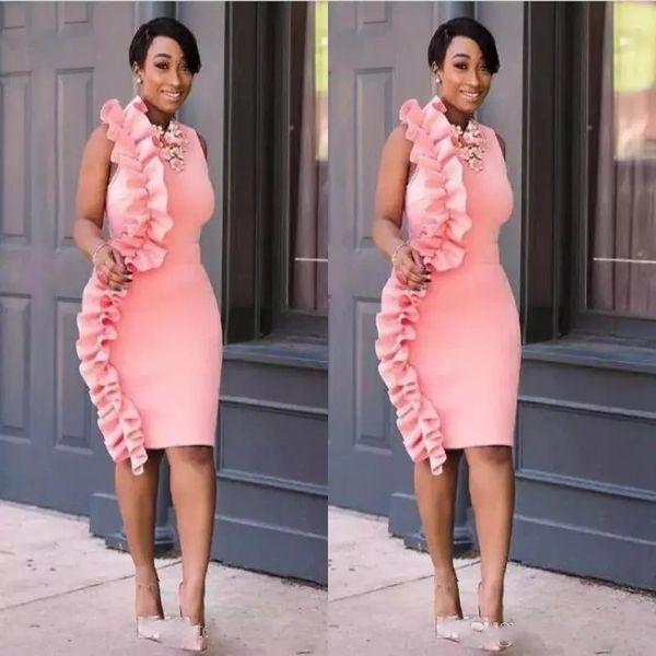 Rosa Preto Meninas Curto Prom Vestidos Bainha Ruffles Na Altura Do Joelho Vestido de Festa Barato Sul Africano Cocktail Vestido Formal Desgaste Da Noite Para As Mulheres