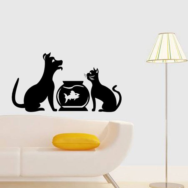 DIY Funny Cute Cat Dog Animls Wall Stickers Home Decals Bedroom Kids Room Decor Free shipping