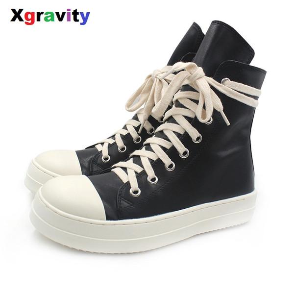 Xgravity Mid-Calf Lady Casual Schwarz Flache Sneaker Elegante Frau Runde Kappe Mode Stiefel Europäischen Amerikanischen Frau Herbst Schuhe C251