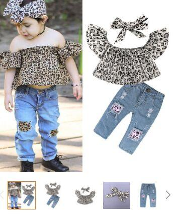 Summer 2018 Children's Fashion Sets of Clothes for Girls 2 Pcs Top & Jeans for girls Set for Teens Girls Clothes Set