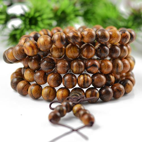 Wholesale flowers Qi Nan Incense Natural Wood Bracelets 108 Buddha Beads Hand String Necklace Lucky For Men Women Jewelry