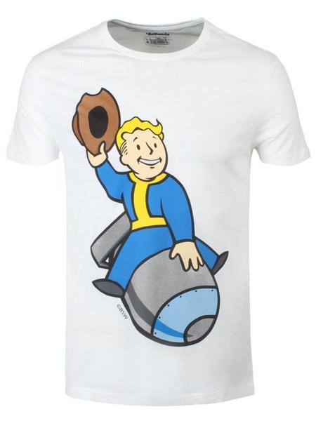 Fallout 4 T-Shirt Vault Boy Homme Blanc Sous Licenza Ufficiale
