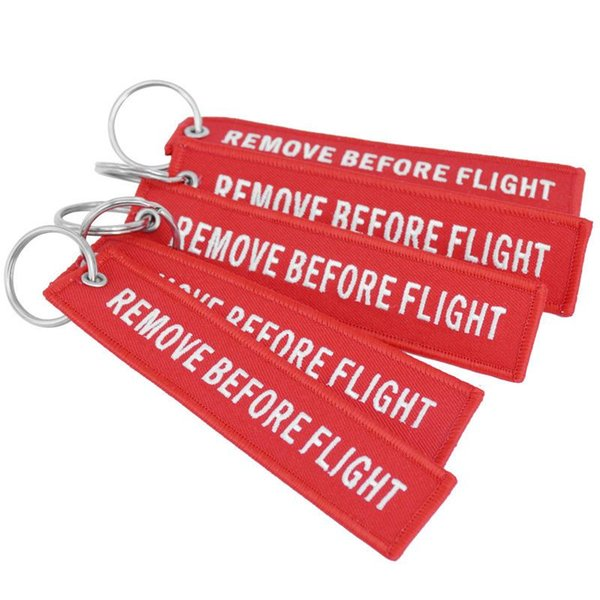 Keychain REMOVE BEFORE FLIGHT Embroidered Canvas Color Optional Woven Keyring Luggage Tag Label Key chain Aviation Gift For Kids wholesale