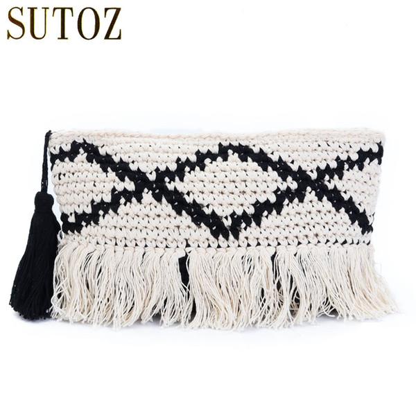 National Design Woven Handbag Clutch Female Cotton Tassels Envelope Bags Messengers for Women Soft Shoulder Crochet Bag BA608