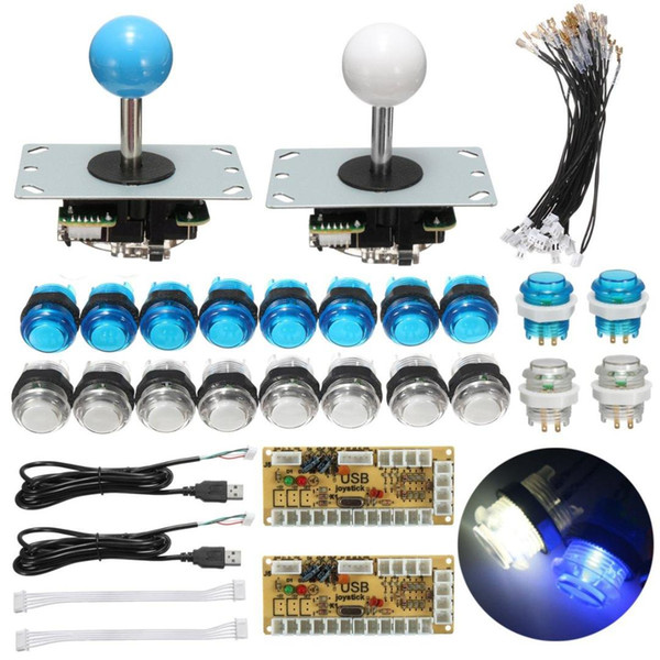 Zero Delay Joystick Arcade DIY Kit Parts With LED Push Button + Joystick + USB Encoder Cables Game Arcade DIY Kits