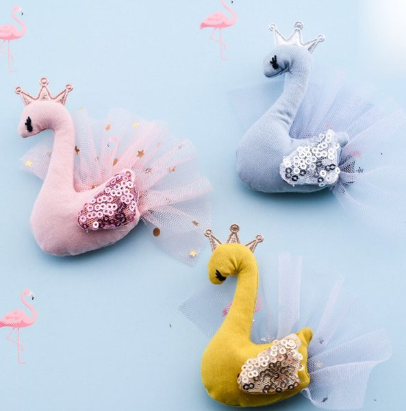 Glitter girls sequins swan hair clip children crown lace gauze swan party hair accessories brooch kids cartoon princess hair sticks YA0410