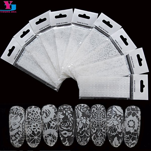 lace sticker White And Black Lace Stickers 9pcs/set Gel Nail Polish Unhas Decorations Fashion Beauty For Women Transfer Foil Nail Art Tools
