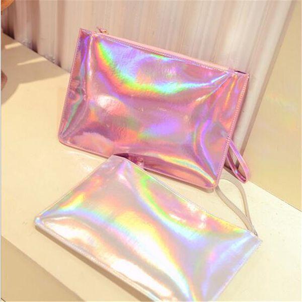 Hologramm-Laser-Gelee-Süßigkeit-bunte Kupplungen Handtaschen-Frauen-Entwerfer-Kupplungs-Handgelenk-Leder-Umschlag-Geldbeutel-Handtasche PINK Silber MMA925