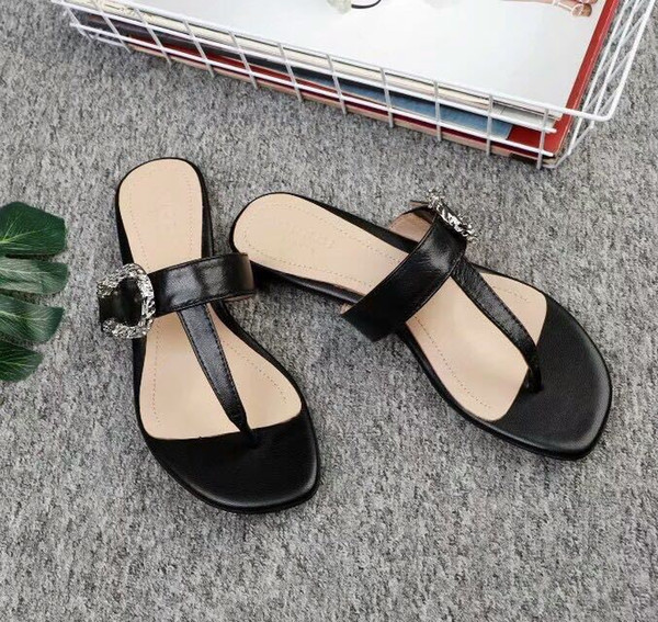 2019 Black pinch slippers 0070 Women Slippers Slippers Drivers Sandals Slides Sneakers Princetown Leather Slipper Real leather Shoes