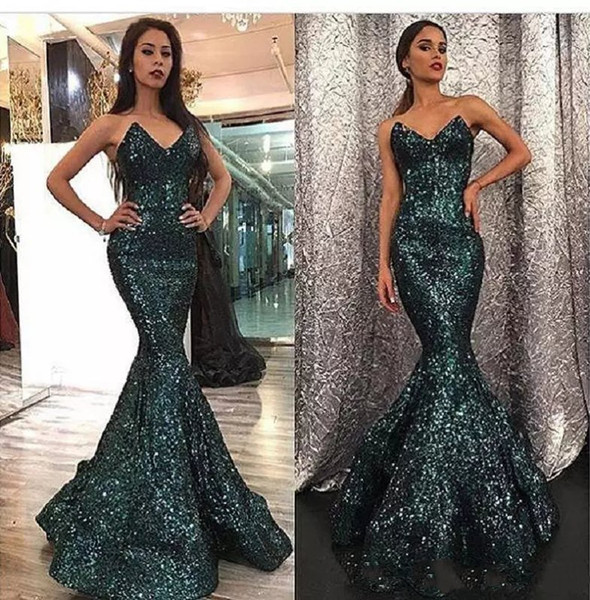 Dubai Sequins Mermaid Evening Dresses 2019 Fashion Curved Sweetheart Neck Hunter Color Sweep Train Prom Gowns