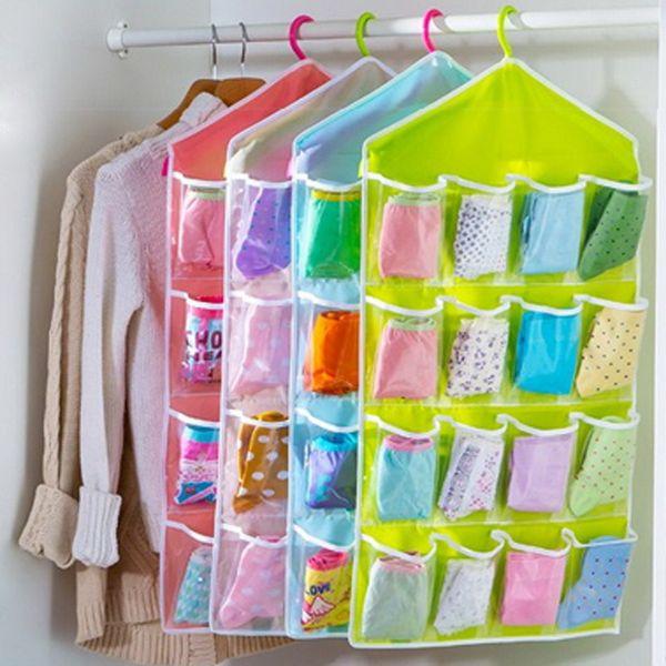 16 Grid Wardrobe Hanging Organizer Underwear Bras Socks Ties Door Storage Bag Shoe Rack Storage Bag Saving Space Tidy Organizer