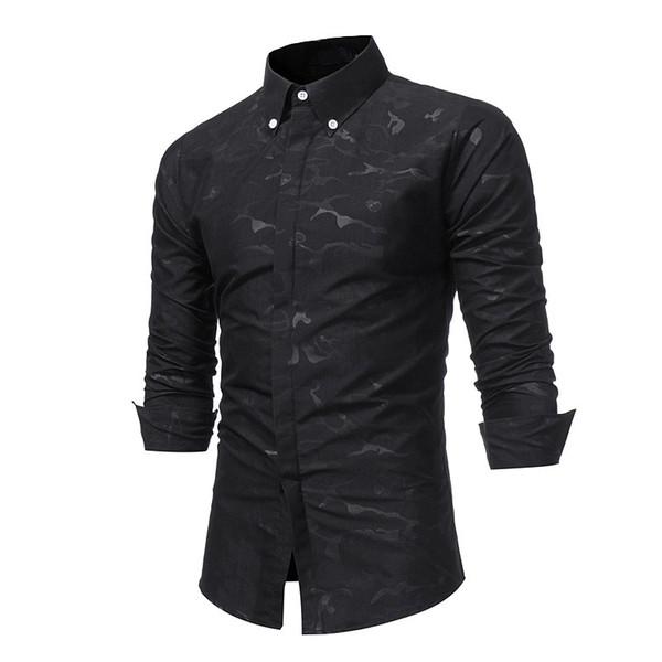 En gros Automne Hiver camouflage base imprimée crânes hommes cachés-emboîtables chemise à manches longues en coton robe chemises