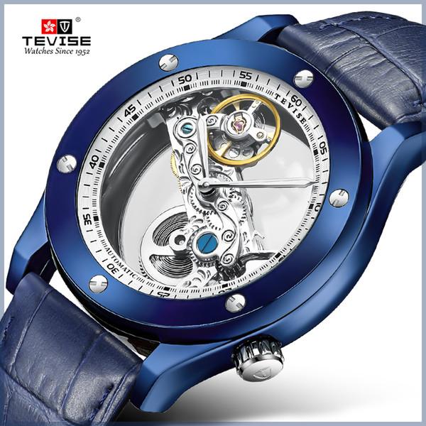 CALIENTE Transparente Mecánica Automática Relojes Hombres Correa de Cuero Relojes Esqueleto de la vendimia Relojes Hombre Luminoso montre homme