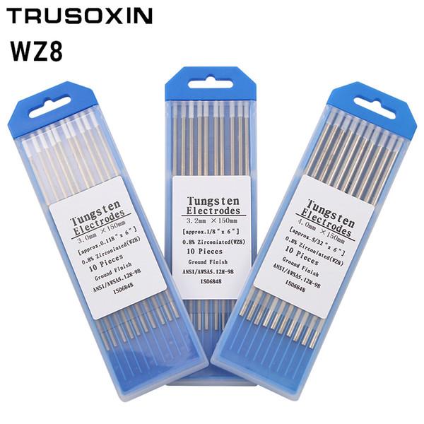 """WZ8 Tungsten Electrode Tig Rod 1.0/1.6/2.0/2.4/3.0/3.2/4.0MMx150mm(6"""")White Head 0.8% Zirconiated Tungsten Electrode Welding Rod"""