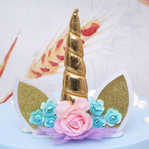 2018 Unicorn Horns Cake Topper Decor Halloween Birthday Wedding Party Event Supplies Kids Birthday Cake Decoration