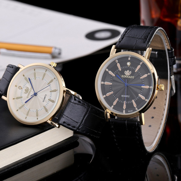 Men's Business pu leather belt quartz watch ultra-thin personality sun flower scales hot sale