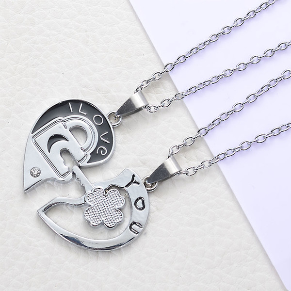 2018 New Style Lover Necklaces & Pendants Heart Lock Neckalce Lover Letter Pendant Crystal With Alloy Silver Plated Short Chain Necklace